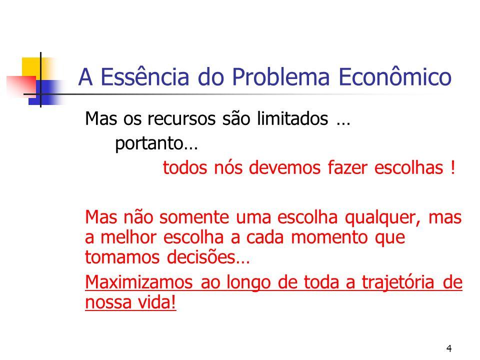 4 A Essência do Problema Econômico Mas os recursos são limitados … portanto… todos nós devemos fazer escolhas ! Mas não somente uma escolha qualquer,