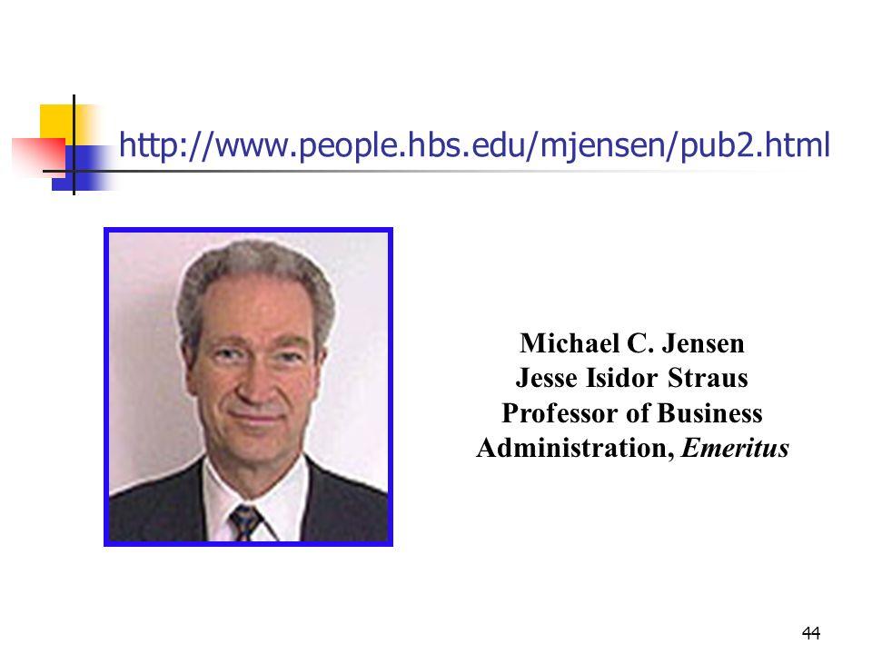 44 http://www.people.hbs.edu/mjensen/pub2.html Michael C. Jensen Jesse Isidor Straus Professor of Business Administration, Emeritus