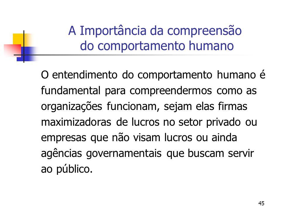 45 A Importância da compreensão do comportamento humano O entendimento do comportamento humano é fundamental para compreendermos como as organizações