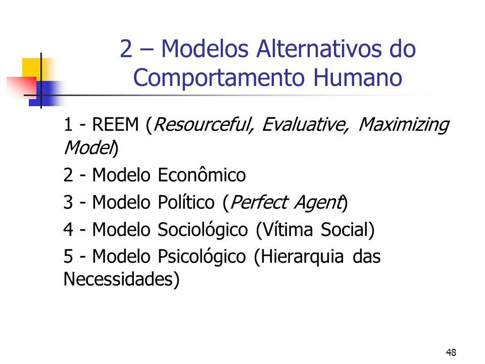 48 2 – Modelos Alternativos do Comportamento Humano 1 - REEM (Resourceful, Evaluative, Maximizing Model) 2 - Modelo Econômico 3 - Modelo Político (Per