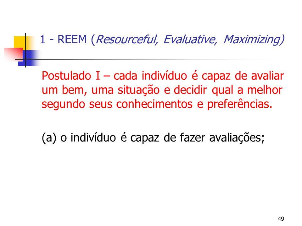 49 1 - REEM (Resourceful, Evaluative, Maximizing) Postulado I – cada indivíduo é capaz de avaliar um bem, uma situação e decidir qual a melhor segundo
