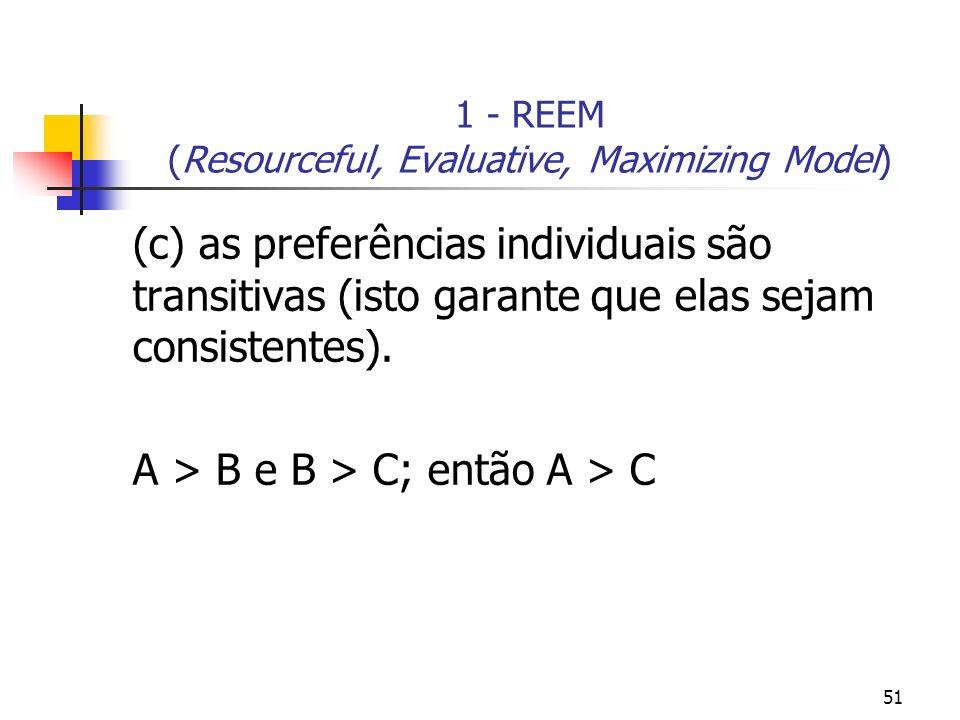 51 1 - REEM (Resourceful, Evaluative, Maximizing Model) (c) as preferências individuais são transitivas (isto garante que elas sejam consistentes). A