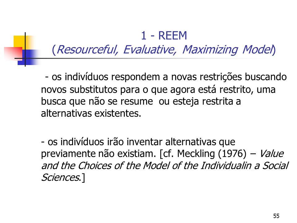 55 1 - REEM (Resourceful, Evaluative, Maximizing Model) - os indivíduos respondem a novas restrições buscando novos substitutos para o que agora está