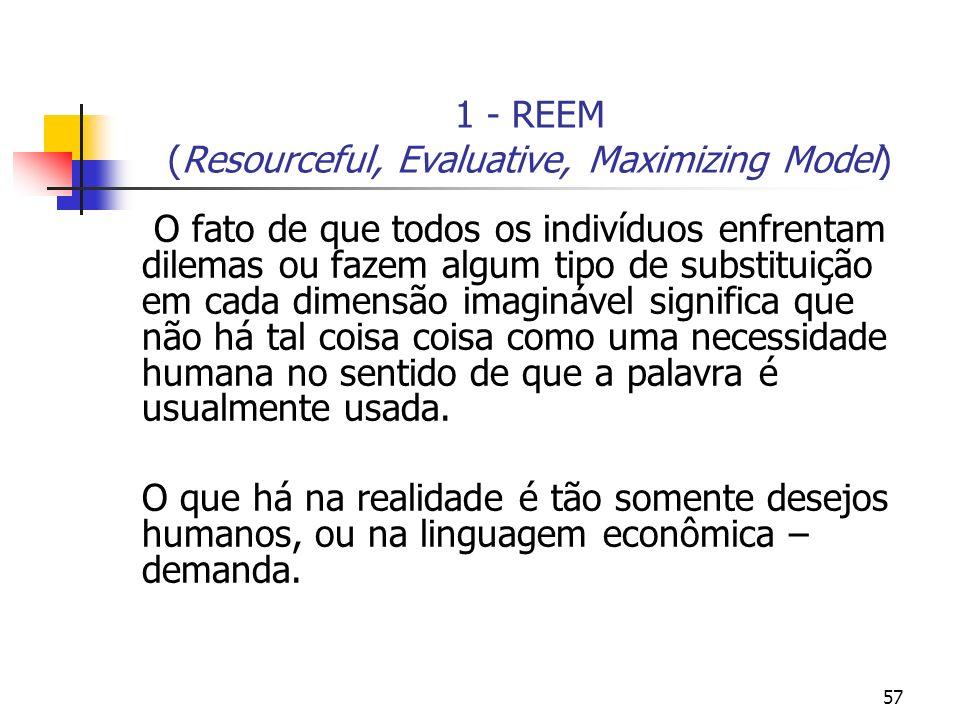 57 1 - REEM (Resourceful, Evaluative, Maximizing Model) O fato de que todos os indivíduos enfrentam dilemas ou fazem algum tipo de substituição em cad