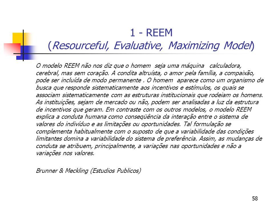 58 1 - REEM (Resourceful, Evaluative, Maximizing Model) O modelo REEM não nos diz que o homem seja uma máquina calculadora, cerebral, mas sem coração.