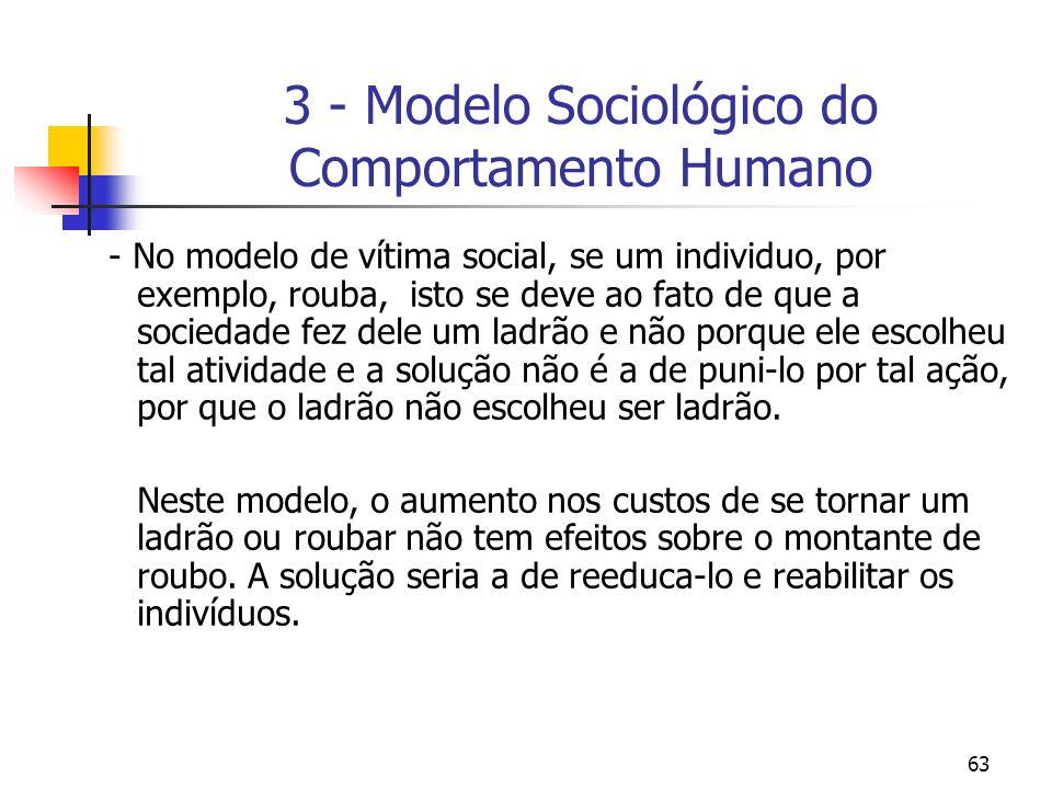 63 3 - Modelo Sociológico do Comportamento Humano - No modelo de vítima social, se um individuo, por exemplo, rouba, isto se deve ao fato de que a soc