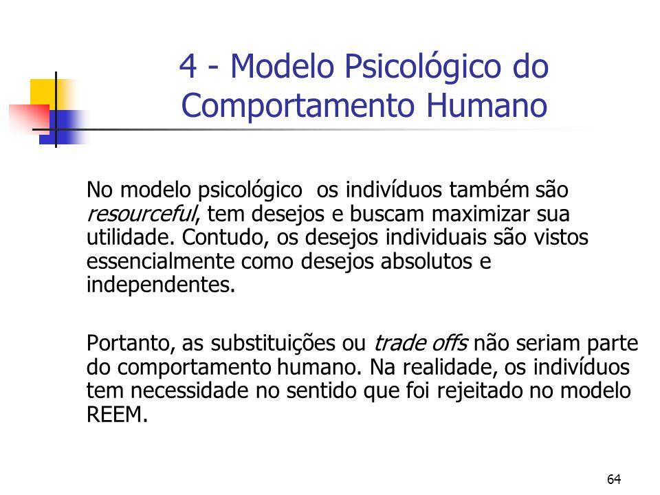 64 4 - Modelo Psicológico do Comportamento Humano No modelo psicológico os indivíduos também são resourceful, tem desejos e buscam maximizar sua utili