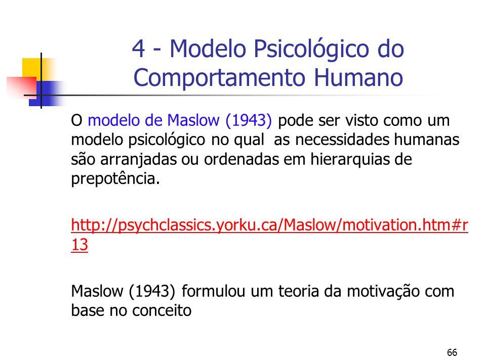 66 4 - Modelo Psicológico do Comportamento Humano O modelo de Maslow (1943) pode ser visto como um modelo psicológico no qual as necessidades humanas