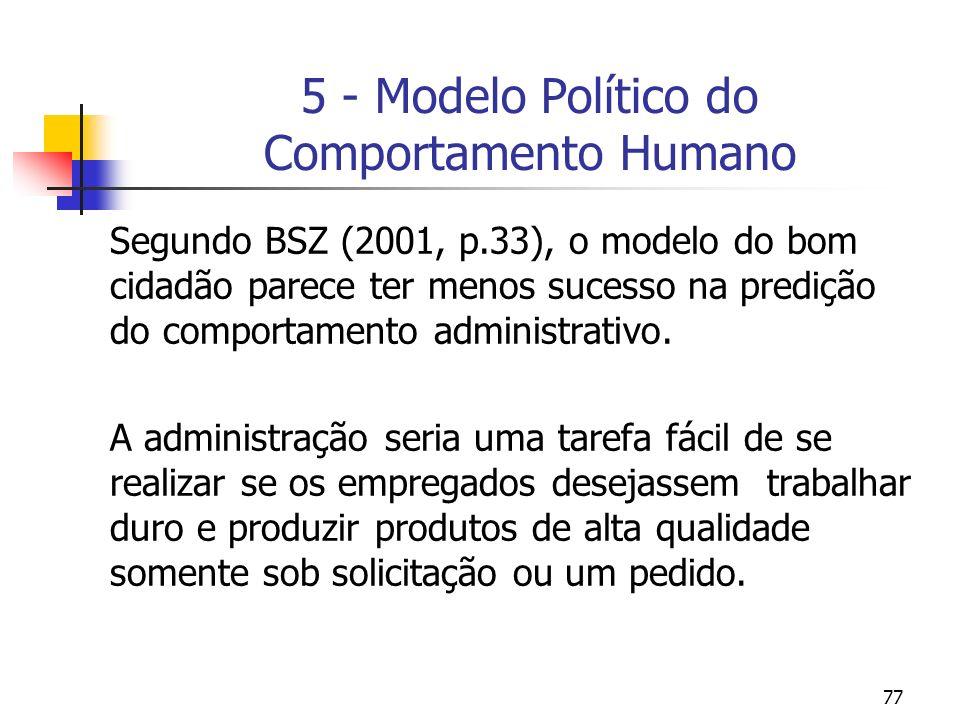 77 5 - Modelo Político do Comportamento Humano Segundo BSZ (2001, p.33), o modelo do bom cidadão parece ter menos sucesso na predição do comportamento