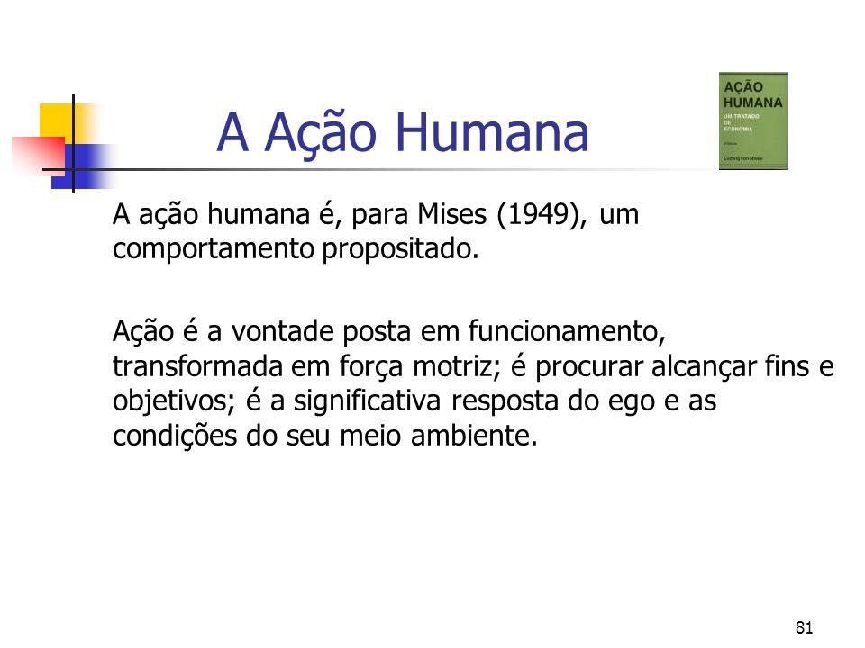81 A Ação Humana A ação humana é, para Mises (1949), um comportamento propositado. Ação é a vontade posta em funcionamento, transformada em força motr