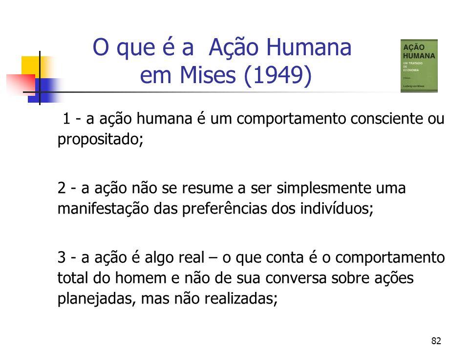 82 O que é a Ação Humana em Mises (1949) 1 - a ação humana é um comportamento consciente ou propositado; 2 - a ação não se resume a ser simplesmente u