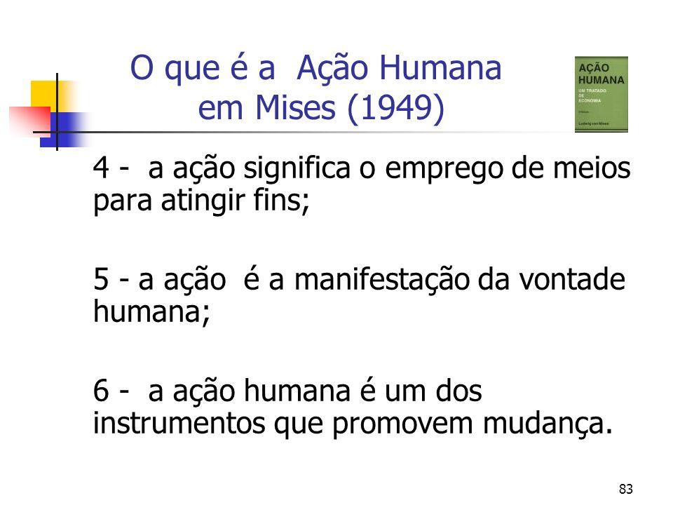 83 O que é a Ação Humana em Mises (1949) 4 - a ação significa o emprego de meios para atingir fins; 5 - a ação é a manifestação da vontade humana; 6 -