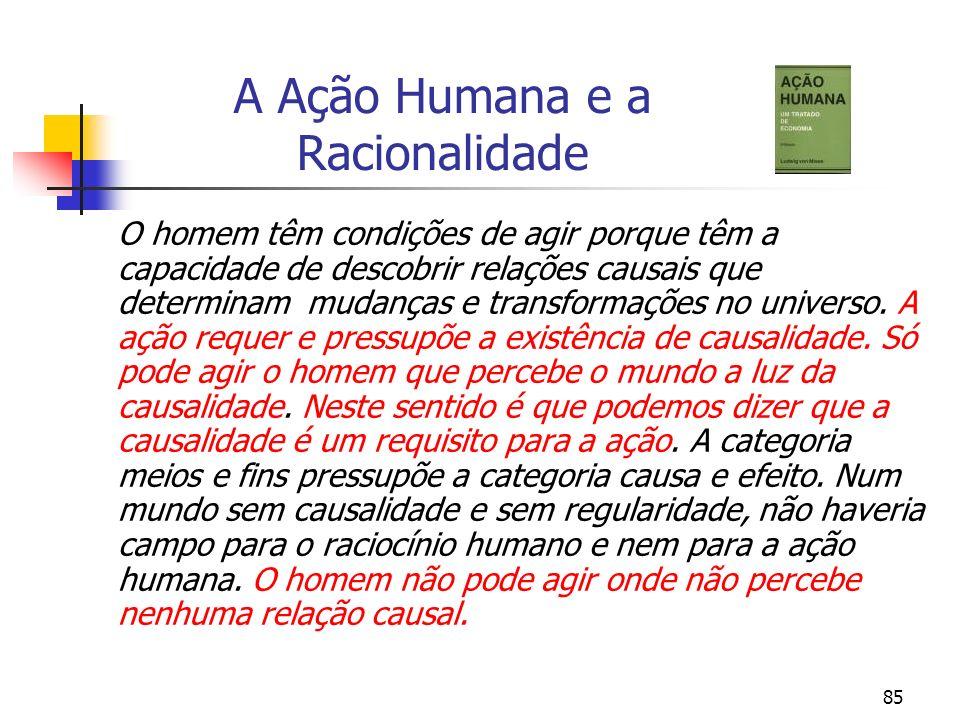 85 A Ação Humana e a Racionalidade O homem têm condições de agir porque têm a capacidade de descobrir relações causais que determinam mudanças e trans