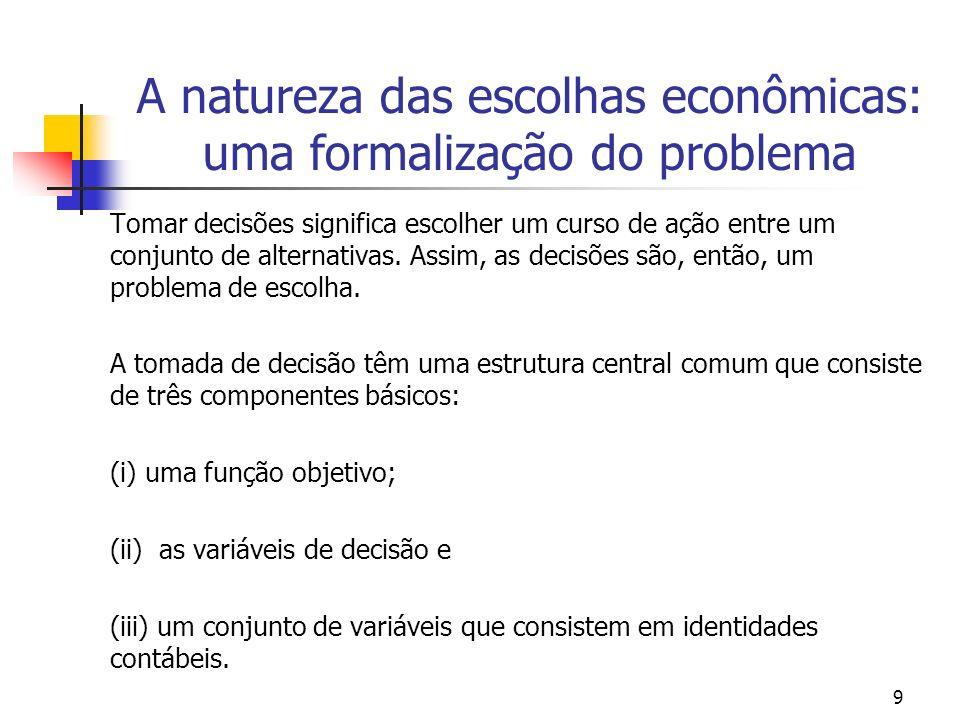 9 A natureza das escolhas econômicas: uma formalização do problema Tomar decisões significa escolher um curso de ação entre um conjunto de alternativa