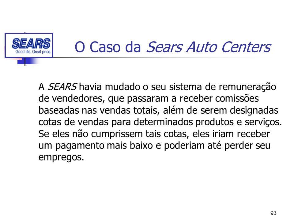 93 O Caso da Sears Auto Centers A SEARS havia mudado o seu sistema de remuneração de vendedores, que passaram a receber comissões baseadas nas vendas