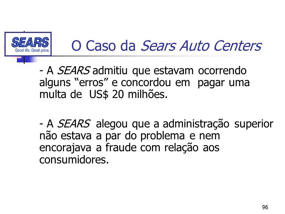 96 O Caso da Sears Auto Centers - A SEARS admitiu que estavam ocorrendo alguns erros e concordou em pagar uma multa de US$ 20 milhões. - A SEARS alego
