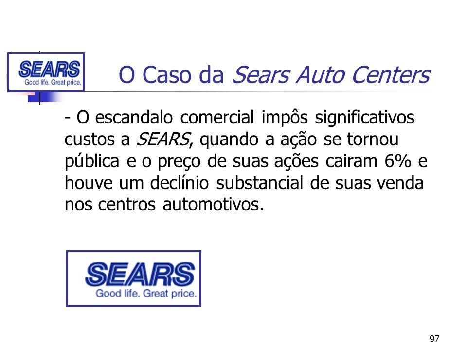 97 O Caso da Sears Auto Centers - O escandalo comercial impôs significativos custos a SEARS, quando a ação se tornou pública e o preço de suas ações c