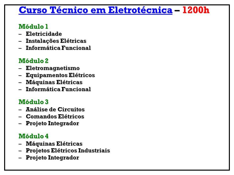 Curso Técnico em Eletrônica – 1200 h Módulo 1 Eletricidade - Eletricidade –Eletrônica Analógica –Informática Funcional Módulo 2 –Eletrônica Digital –Manutenção Eletrônica –Informática Funcional Módulo 3 –Análise de Circuitos –Microprocessadores e Microcontroladores –Projeto Integrador Módulo 4 –Telecomunicações –Manutenção Eletrônica –Projeto Integrador