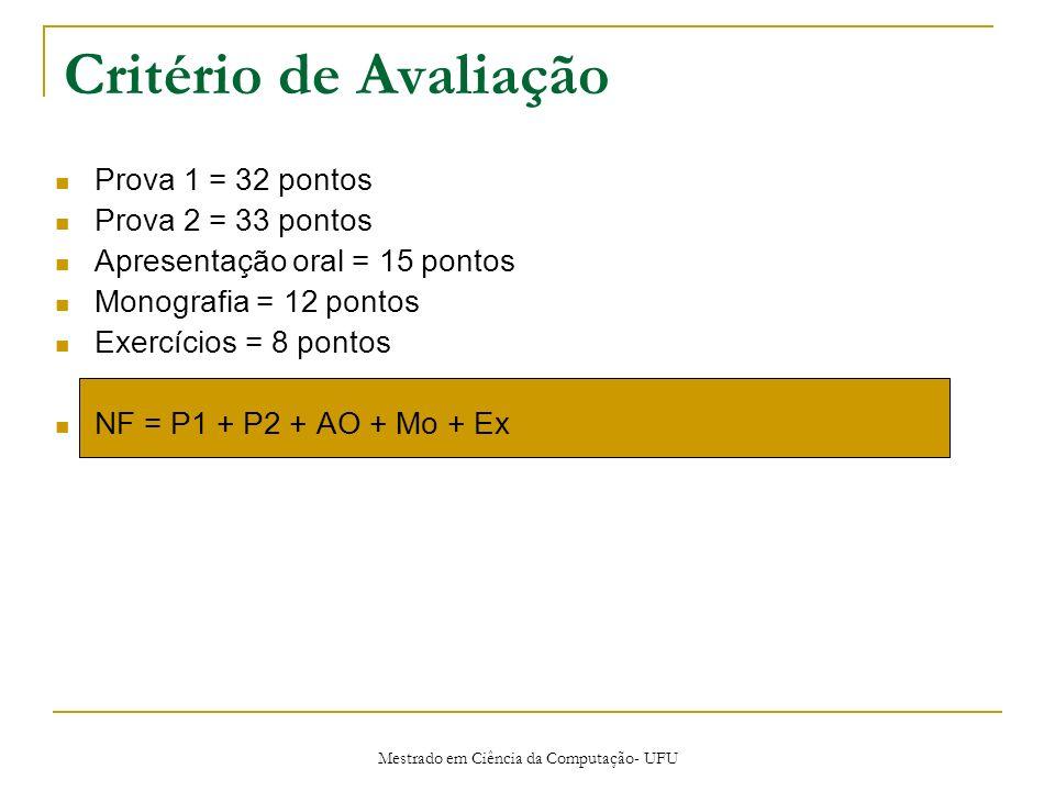 Mestrado em Ciência da Computação- UFU Critério de Avaliação Prova 1 = 32 pontos Prova 2 = 33 pontos Apresentação oral = 15 pontos Monografia = 12 pon