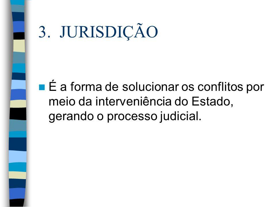 3. JURISDIÇÃO É a forma de solucionar os conflitos por meio da interveniência do Estado, gerando o processo judicial.