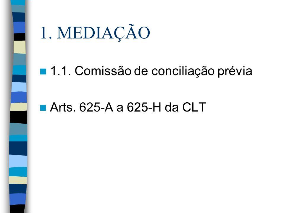 1. MEDIAÇÃO 1.1. Comissão de conciliação prévia Arts. 625-A a 625-H da CLT