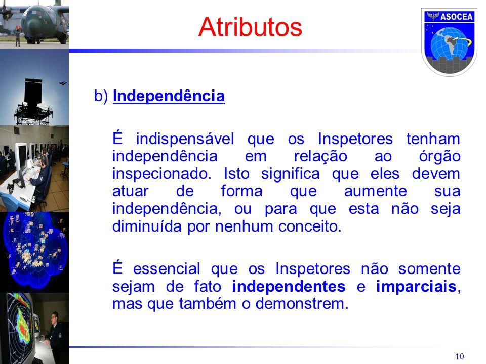 10 b) Independência É indispensável que os Inspetores tenham independência em relação ao órgão inspecionado. Isto significa que eles devem atuar de fo