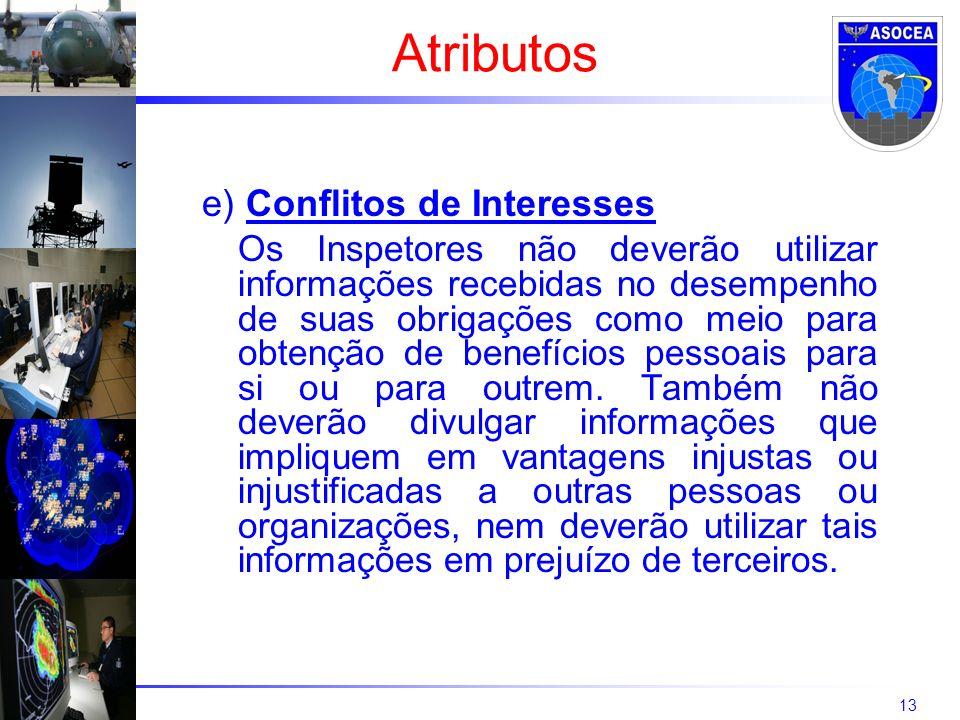 13 e) Conflitos de Interesses Os Inspetores não deverão utilizar informações recebidas no desempenho de suas obrigações como meio para obtenção de benefícios pessoais para si ou para outrem.