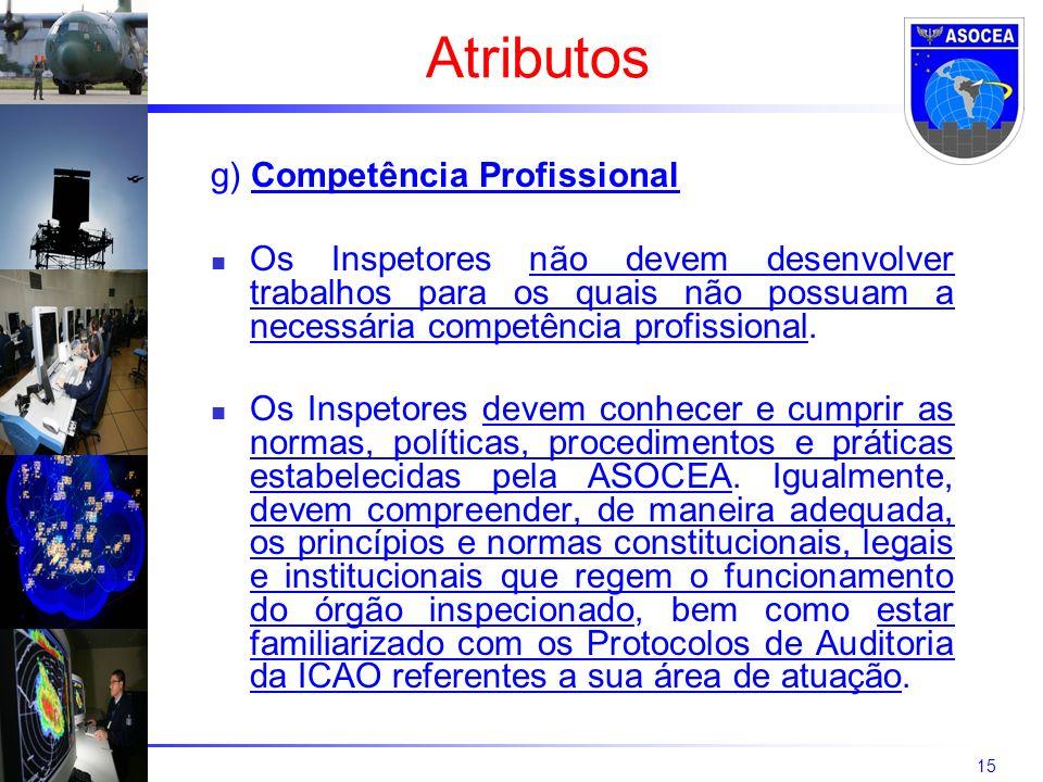 15 g) Competência Profissional Os Inspetores não devem desenvolver trabalhos para os quais não possuam a necessária competência profissional. Os Inspe