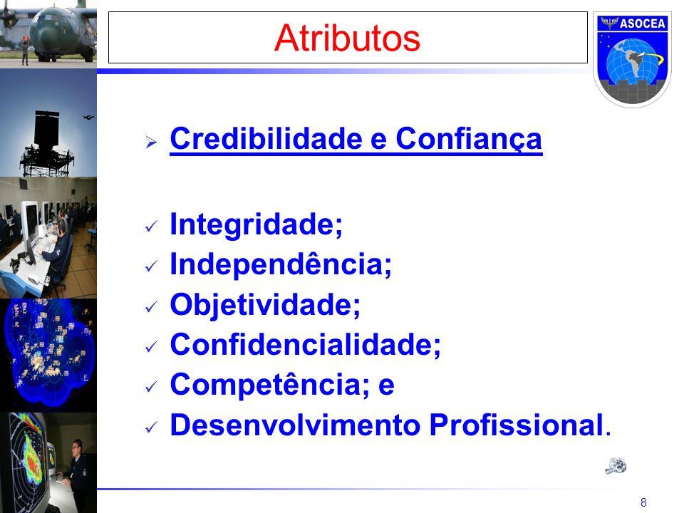 8 Credibilidade e Confiança Integridade; Independência; Objetividade; Confidencialidade; Competência; e Desenvolvimento Profissional. Atributos