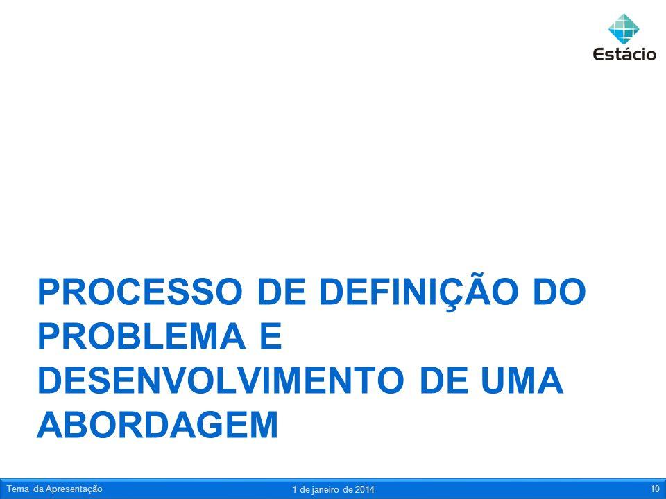 PROCESSO DE DEFINIÇÃO DO PROBLEMA E DESENVOLVIMENTO DE UMA ABORDAGEM 1 de janeiro de 2014 Tema da Apresentação10