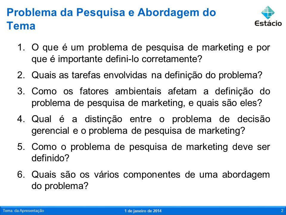 1.O que é um problema de pesquisa de marketing e por que é importante defini-lo corretamente? 2.Quais as tarefas envolvidas na definição do problema?