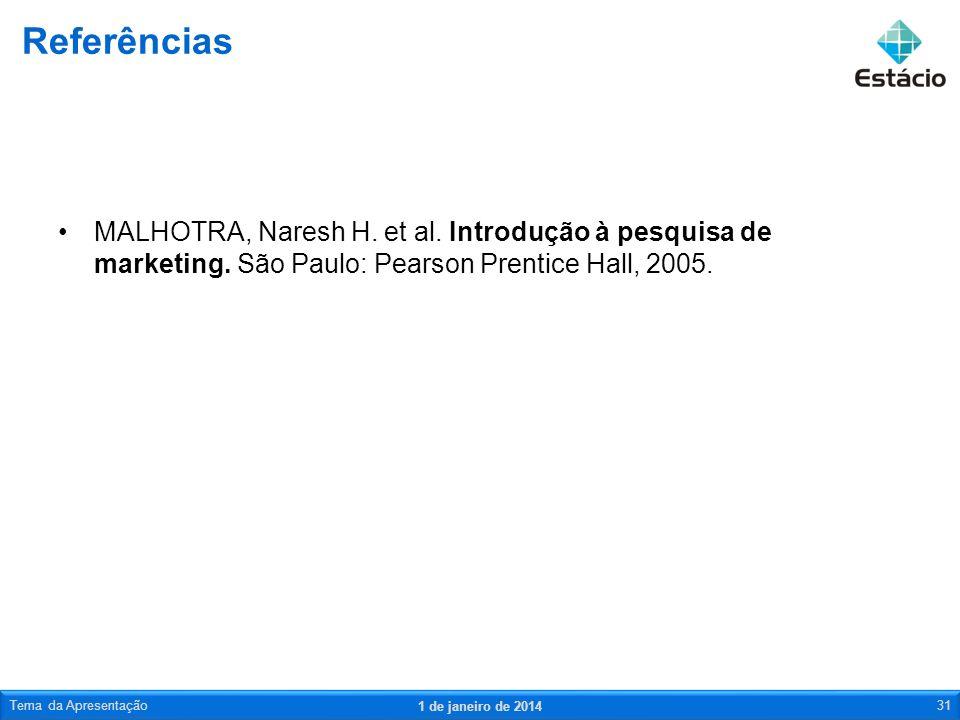 MALHOTRA, Naresh H. et al. Introdução à pesquisa de marketing. São Paulo: Pearson Prentice Hall, 2005. Referências 1 de janeiro de 2014 Tema da Aprese