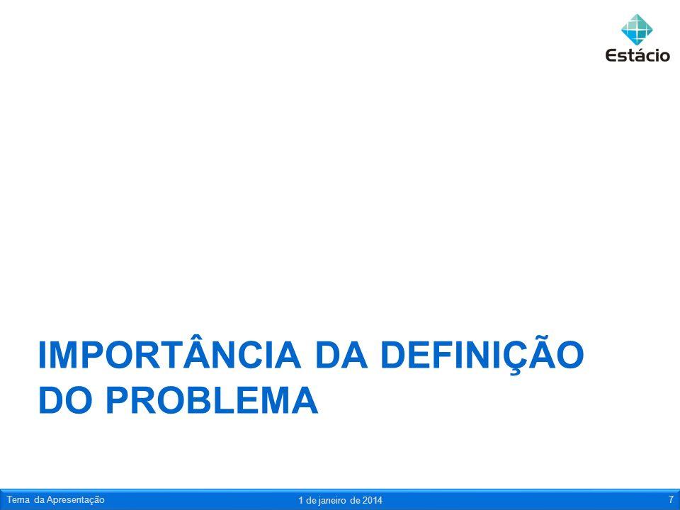 IMPORTÂNCIA DA DEFINIÇÃO DO PROBLEMA 1 de janeiro de 2014 Tema da Apresentação7