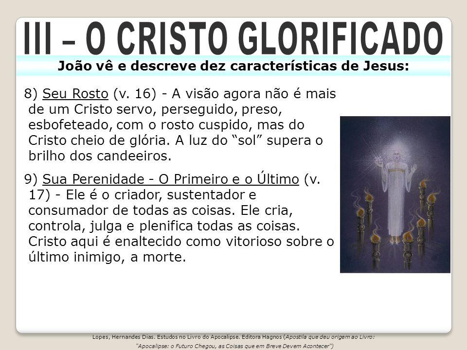 8) Seu Rosto (v. 16) - A visão agora não é mais de um Cristo servo, perseguido, preso, esbofeteado, com o rosto cuspido, mas do Cristo cheio de glória