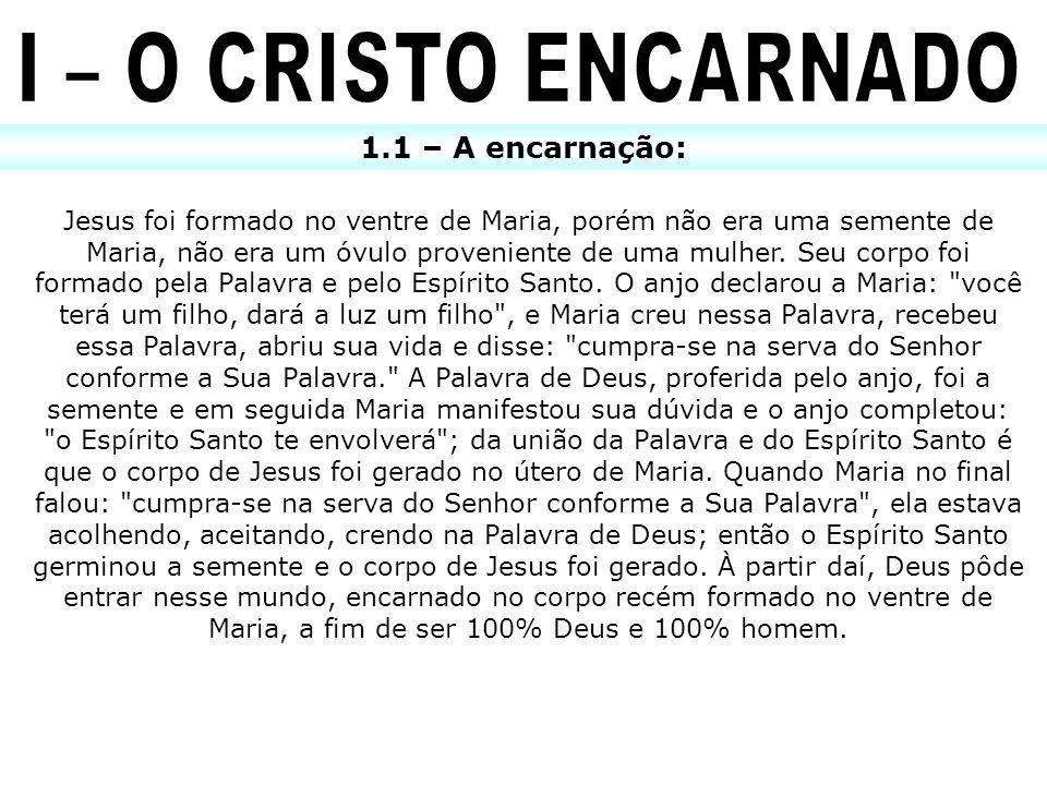 1.1 – A encarnação: Jesus foi formado no ventre de Maria, porém não era uma semente de Maria, não era um óvulo proveniente de uma mulher. Seu corpo fo