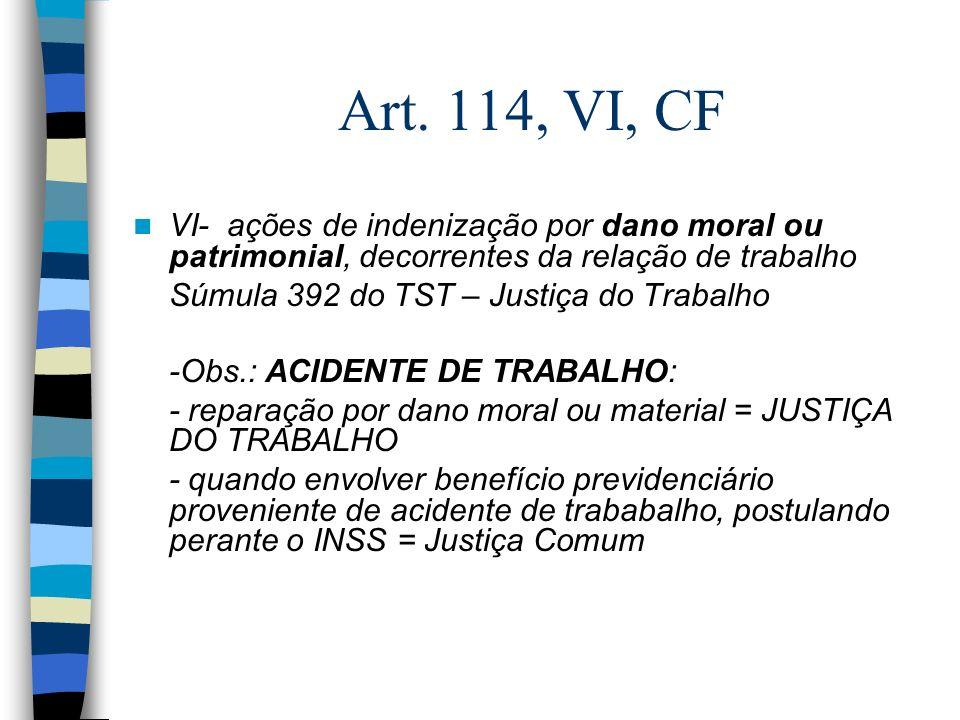 Art. 114, VI, CF VI- ações de indenização por dano moral ou patrimonial, decorrentes da relação de trabalho Súmula 392 do TST – Justiça do Trabalho -O