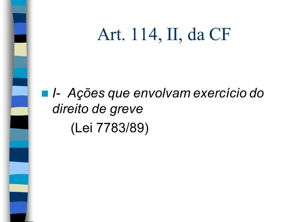 Art. 114, II, da CF I- Ações que envolvam exercício do direito de greve (Lei 7783/89)