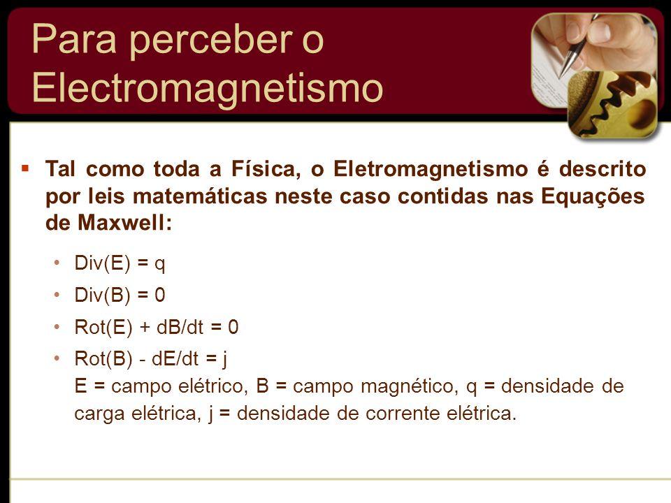 Div(E) = q Div(B) = 0 Rot(E) + dB/dt = 0 Rot(B) - dE/dt = j E = campo elétrico, B = campo magnético, q = densidade de carga elétrica, j = densidade de