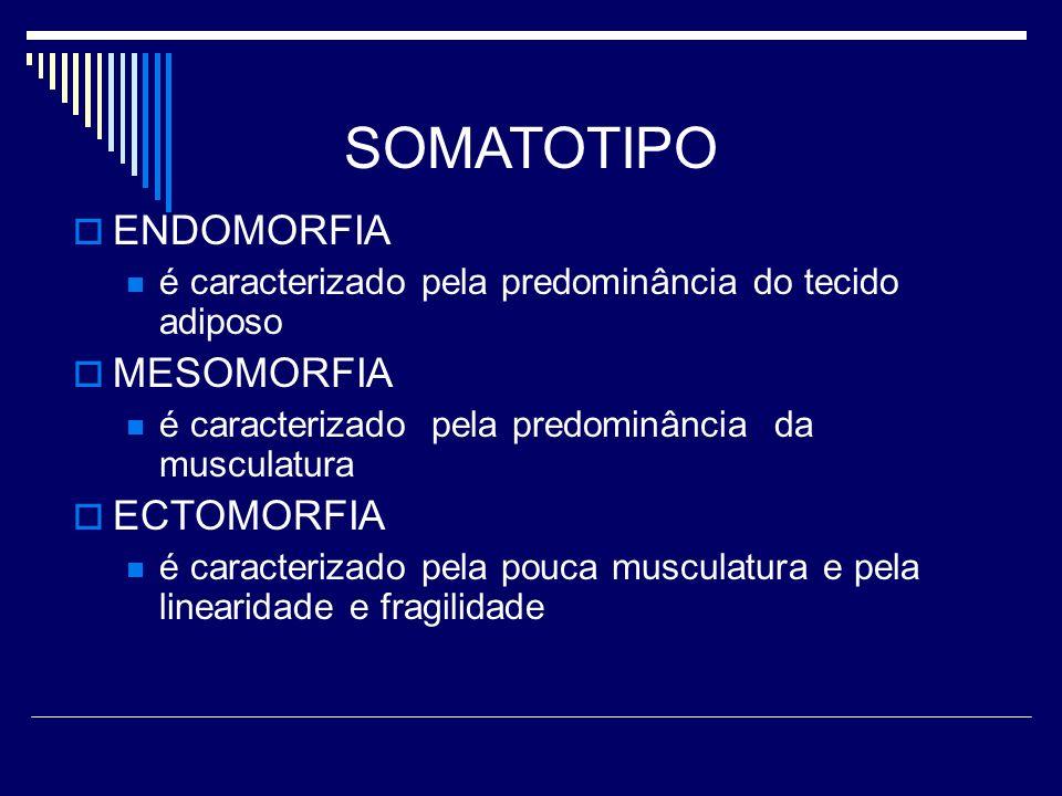 SOMATOTIPO ENDOMORFIA é caracterizado pela predominância do tecido adiposo MESOMORFIA é caracterizado pela predominância da musculatura ECTOMORFIA é c