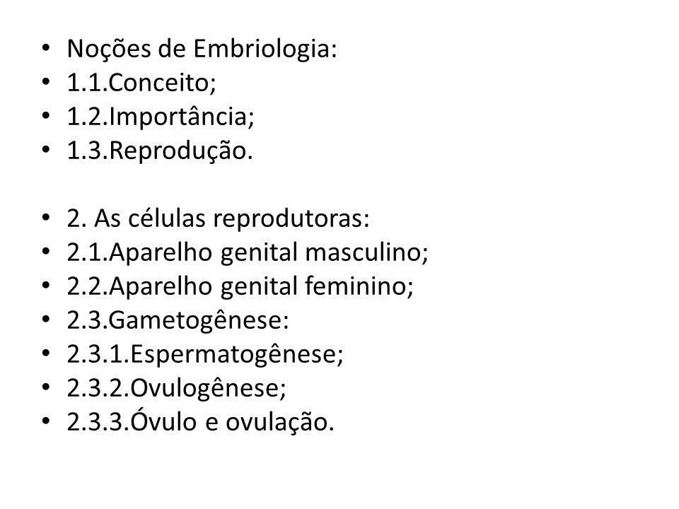 Noções de Embriologia: 1.1.Conceito; 1.2.Importância; 1.3.Reprodução. 2. As células reprodutoras: 2.1.Aparelho genital masculino; 2.2.Aparelho genital