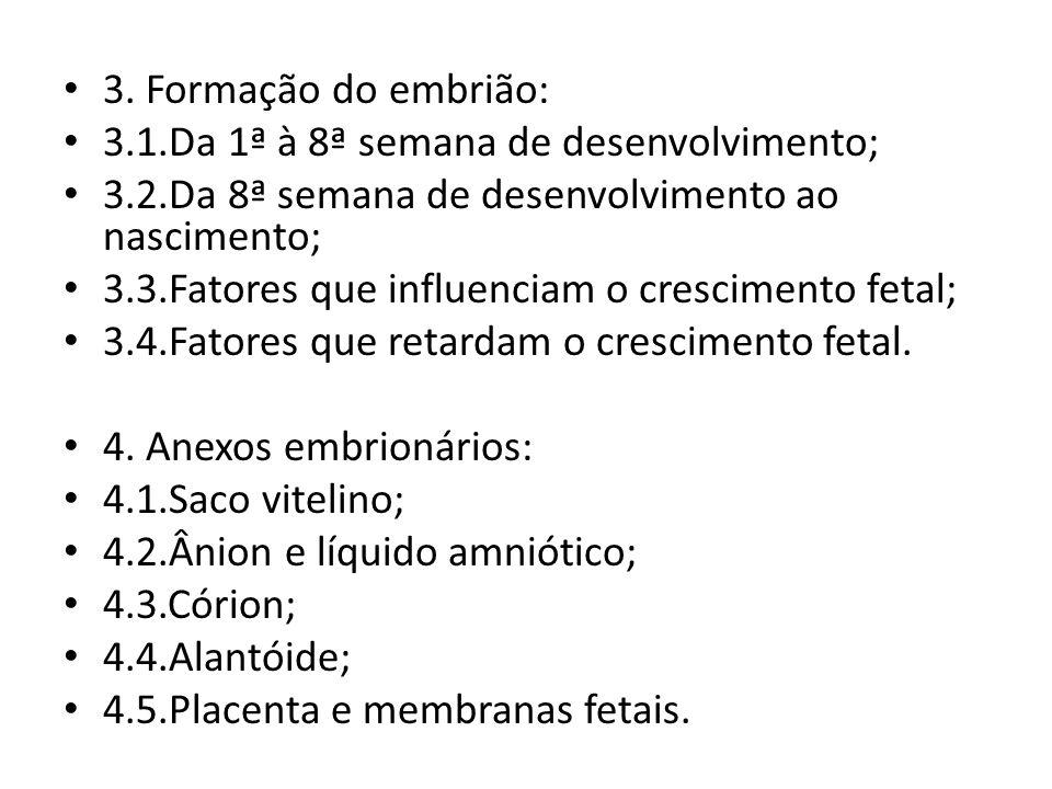 3. Formação do embrião: 3.1.Da 1ª à 8ª semana de desenvolvimento; 3.2.Da 8ª semana de desenvolvimento ao nascimento; 3.3.Fatores que influenciam o cre