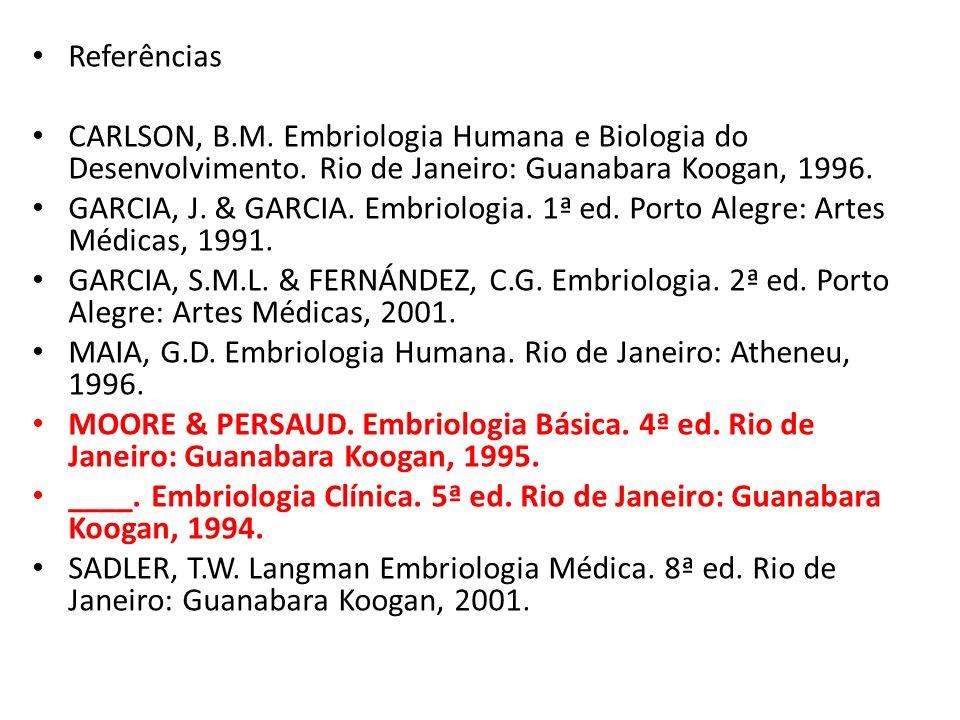 Referências CARLSON, B.M. Embriologia Humana e Biologia do Desenvolvimento. Rio de Janeiro: Guanabara Koogan, 1996. GARCIA, J. & GARCIA. Embriologia.