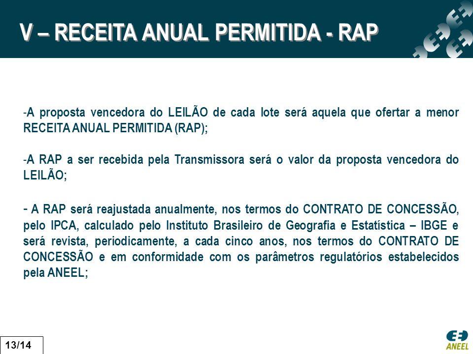 - A proposta vencedora do LEILÃO de cada lote será aquela que ofertar a menor RECEITA ANUAL PERMITIDA (RAP); - A RAP a ser recebida pela Transmissora