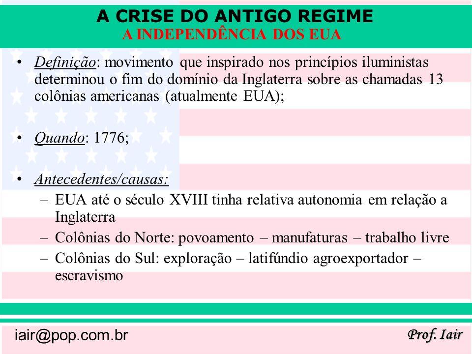 A CRISE DO ANTIGO REGIME Prof.