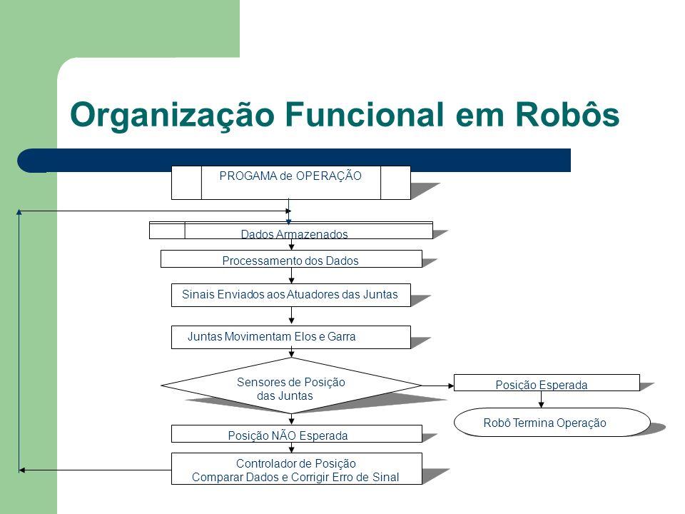 Organização Funcional em Robôs PROGAMA de OPERAÇÃO Dados Armazenados Processamento dos Dados Sinais Enviados aos Atuadores das Juntas Juntas Movimenta