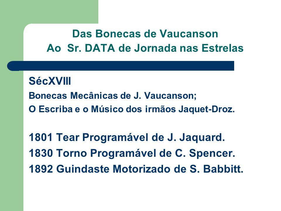 Das Bonecas de Vaucanson Ao Sr. DATA de Jornada nas Estrelas SécXVIII Bonecas Mecânicas de J. Vaucanson; O Escriba e o Músico dos irmãos Jaquet-Droz.