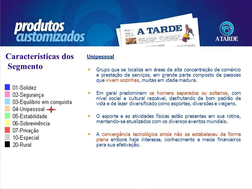 Características dos Segmento Unipessoal Grupo que se localiza em áreas de alta concentração de comércio e prestação de serviços, em grande parte compo