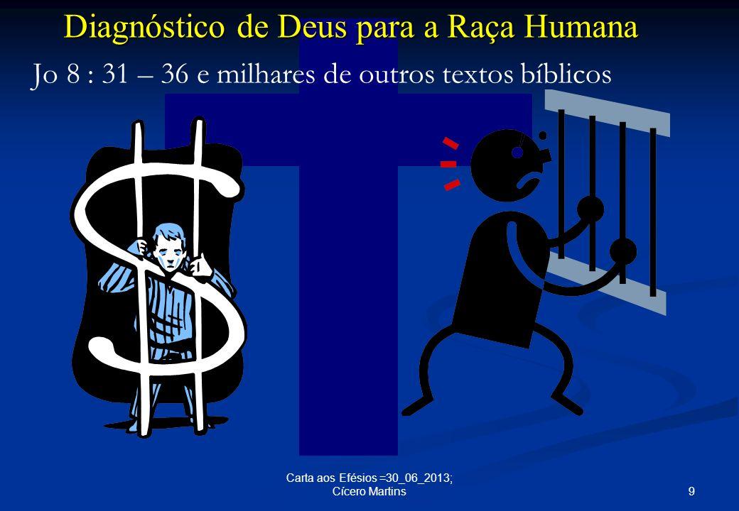 9 Carta aos Efésios =30_06_2013; Cícero Martins Diagnóstico de Deus para a Raça Humana Jo 8 : 31 – 36 e milhares de outros textos bíblicos