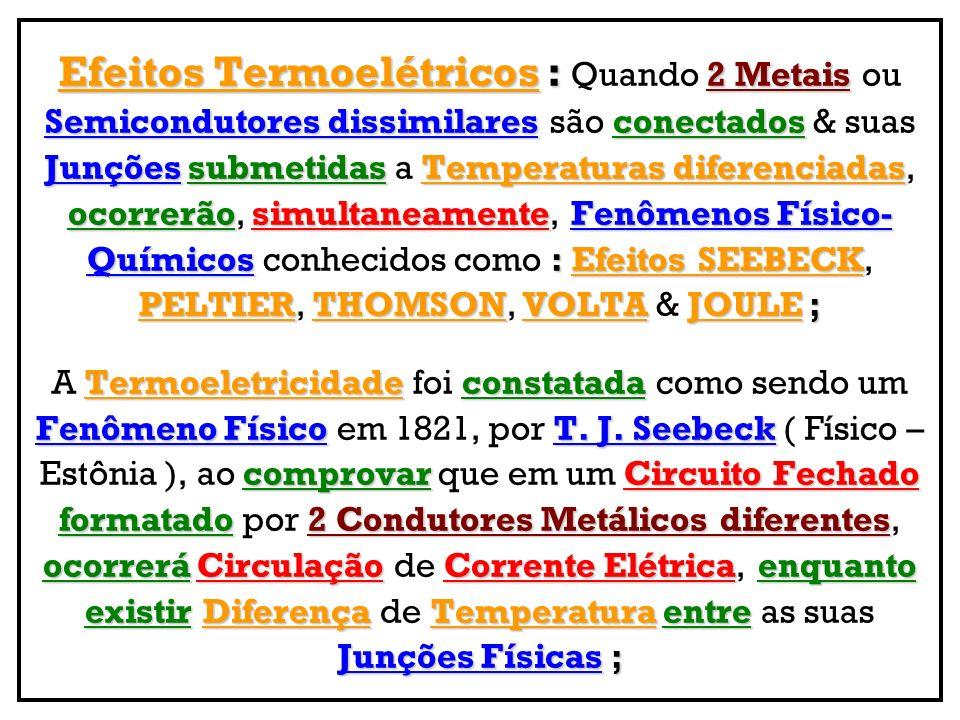 Efeitos Termoelétricos : 2 Metais Efeitos Termoelétricos : Quando 2 Metais ou Semicondutores dissimilaresconectados Semicondutores dissimilares são co