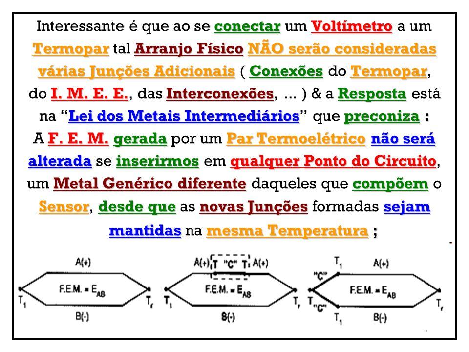 conectarVoltímetro Interessante é que ao se conectar um Voltímetro a um TermoparArranjo FísicoNÃO serão consideradas Termopar tal Arranjo Físico NÃO s